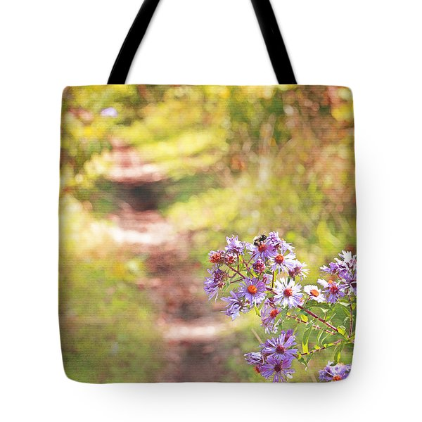 Tote Bag featuring the photograph Honey Bee On Purple Aster by Brooke T Ryan