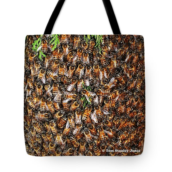 Tote Bag featuring the photograph Honey Bee Swarm by Tom Janca