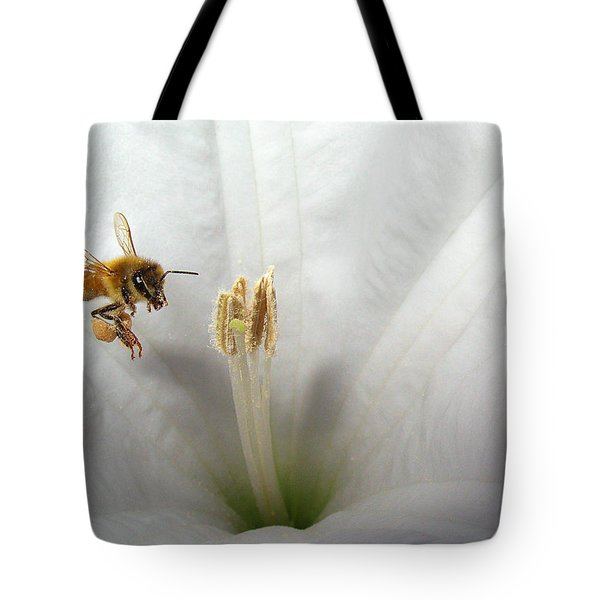 Honey Bee Up Close And Personal Tote Bag by Joyce Dickens