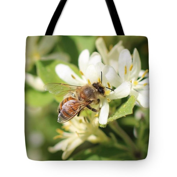 Honeybee And Honeysuckle Tote Bag by Lucinda VanVleck