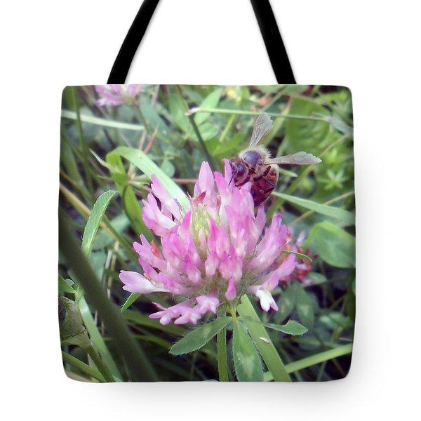 Honeybee Enjoying The Wild Purple Clover Tote Bag
