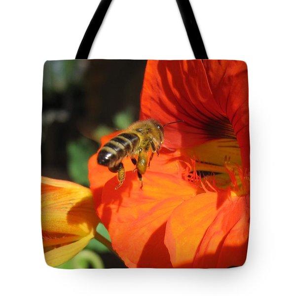 Honeybee Entering Nasturtium Tote Bag