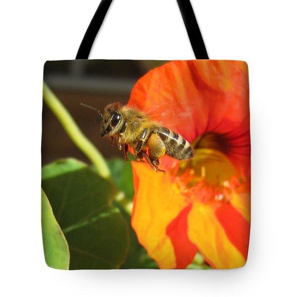 Honeybee Leaving Nasturtium With A Full Pollen Basket Tote Bag