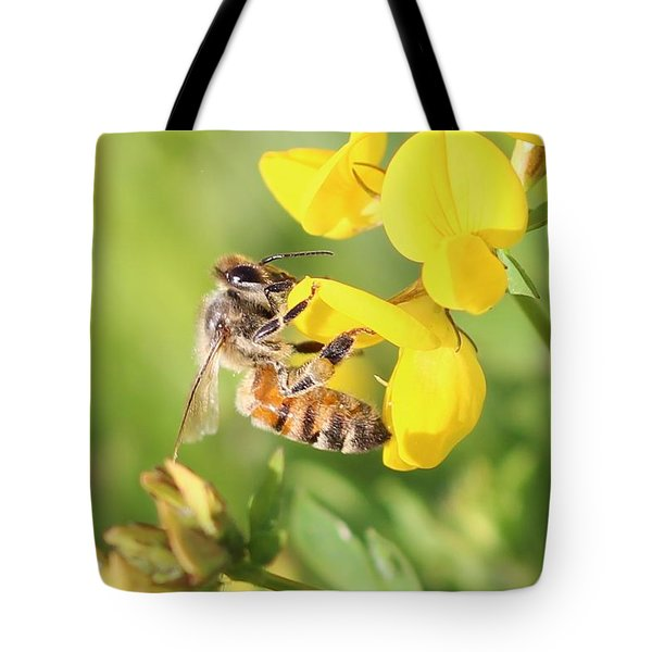 honeybee on Birdsfool Trefoil Tote Bag