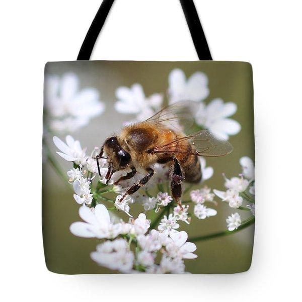 Honeybee On Cilantro Tote Bag