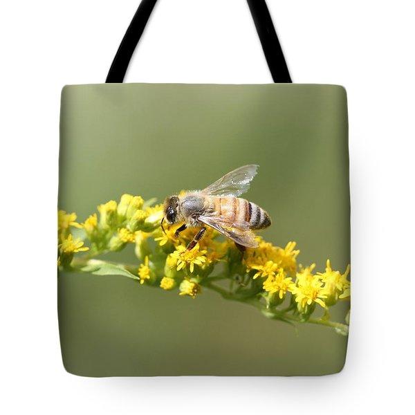 Honeybee On Goldenrod Twig Tote Bag