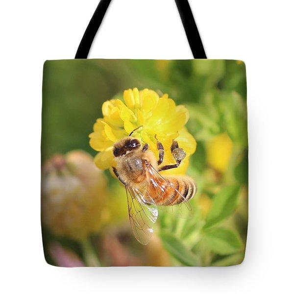 Honeybee On Hop Clover Tote Bag
