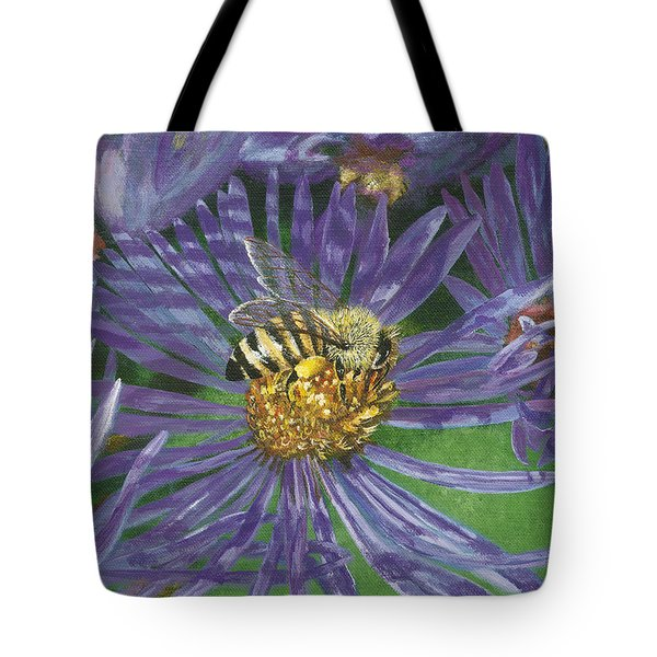 Honeybee On Purple Aster Tote Bag by Lucinda V VanVleck