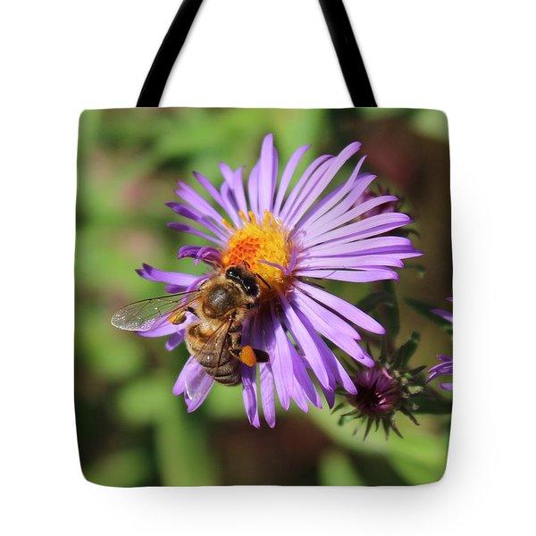 Honeybee On Purple Wild Aster Tote Bag