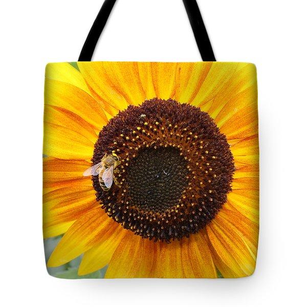 Honeybee On Small Sunflower Tote Bag