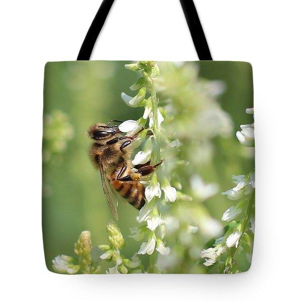 Honeybee On Sweet Clover Tote Bag by Lucinda VanVleck