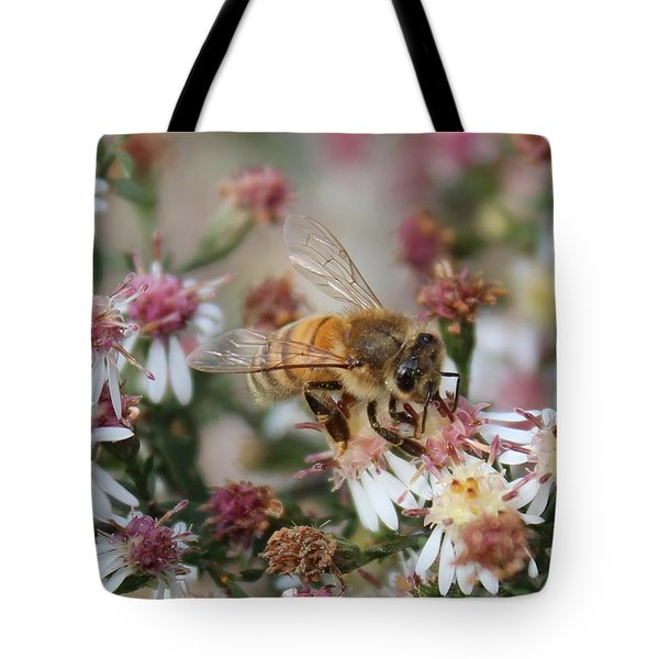 Honeybee Sipping Nectar On Wild Aster Tote Bag