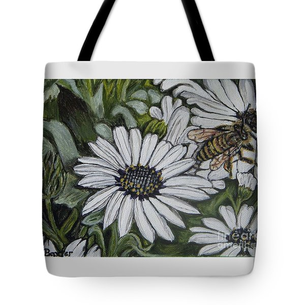 Tote Bag featuring the painting Honeybee Taking The Time To Stop And Enjoy The Daisies by Kimberlee Baxter