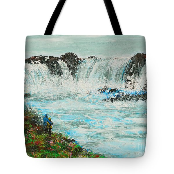 Honeymoon At Godafoss Tote Bag