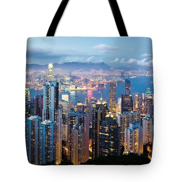 Hong Kong At Dusk Tote Bag