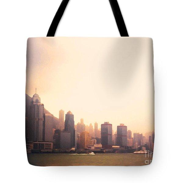 Hong Kong Harbour Sunset Tote Bag by Pixel  Chimp