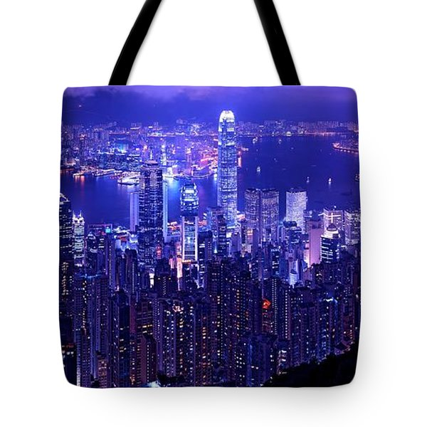 Hong Kong In Purple Tote Bag