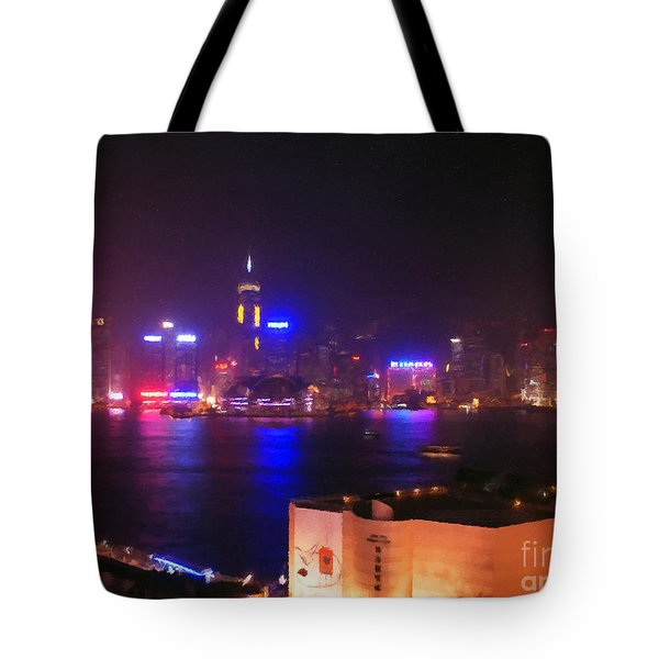 Hong Kong Skyline Tote Bag by Pixel  Chimp