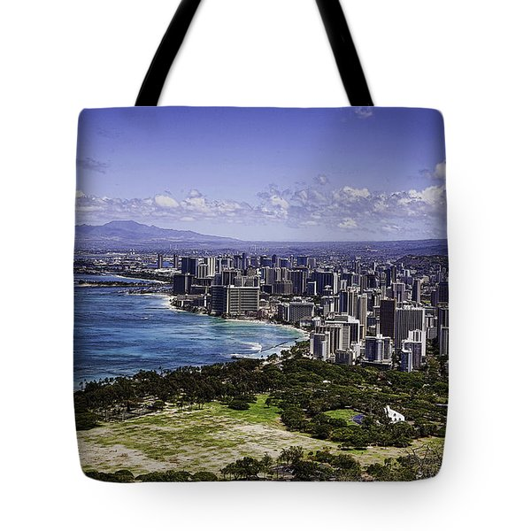 Honolulu From Diamond Head Tote Bag by Joanna Madloch