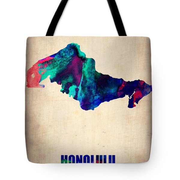 Honolulu Watercolor Map Tote Bag