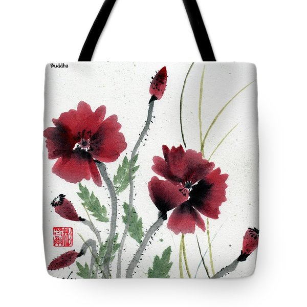 Tote Bag featuring the painting Honor With Buddha Quote I by Bill Searle