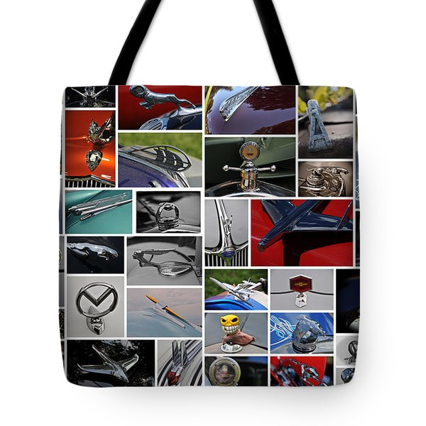 Hood Ornament Collage Tote Bag by Mike Martin