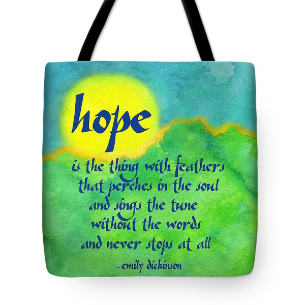 Hope By Emily Dickinson Tote Bag by Ginny Gaura