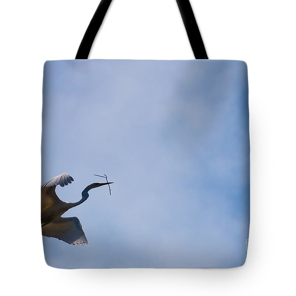 Hopeful Egret Building A Home  Tote Bag