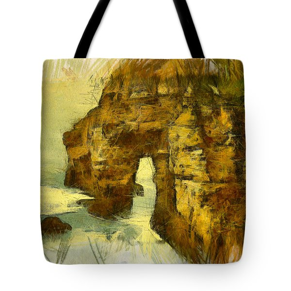 Horn Head Temple Arch Tote Bag by Unknown