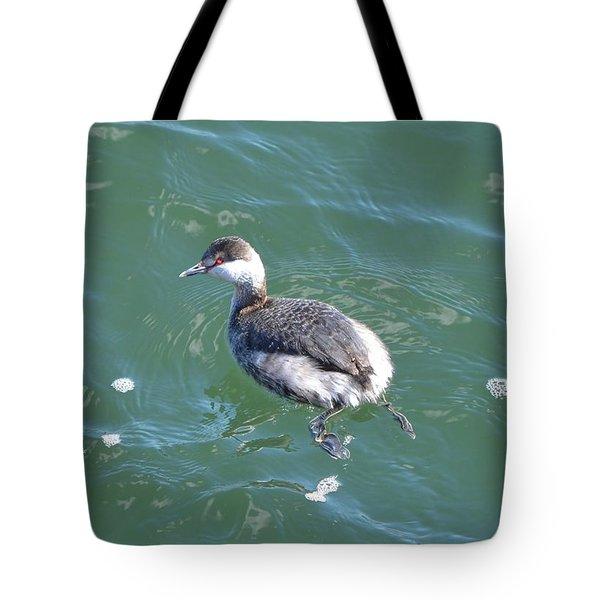 Horned Grebe Tote Bag by James Petersen