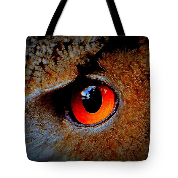 Horned Owl Eye Tote Bag