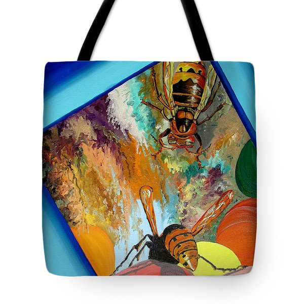 Tote Bag featuring the painting Hornets by Daniel Janda
