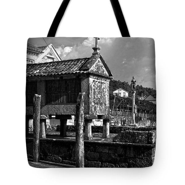Horreo And Cruceiro In Galicia Bw Tote Bag