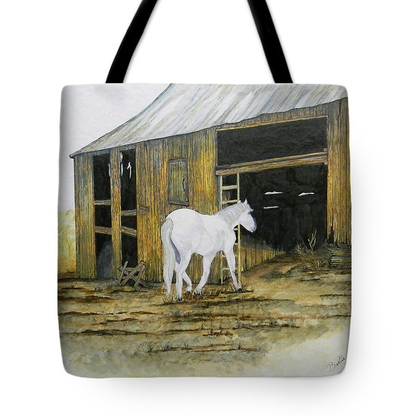 Horse And Barn Tote Bag by Bertie Edwards
