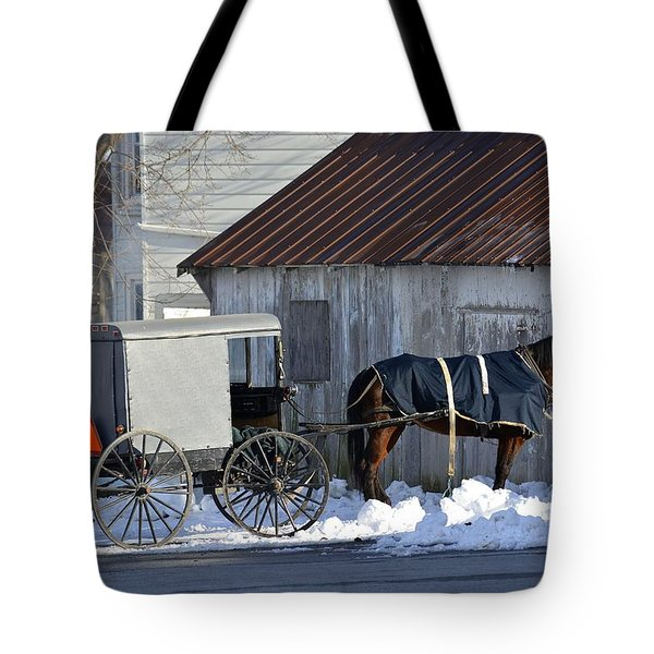 Horse And Buggy Parked Tote Bag