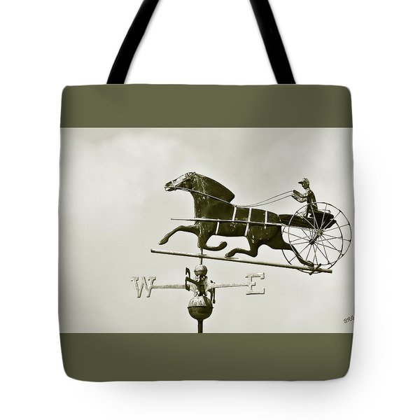 Horse And Buggy Weathervane In Sepia Tote Bag by Ben and Raisa Gertsberg