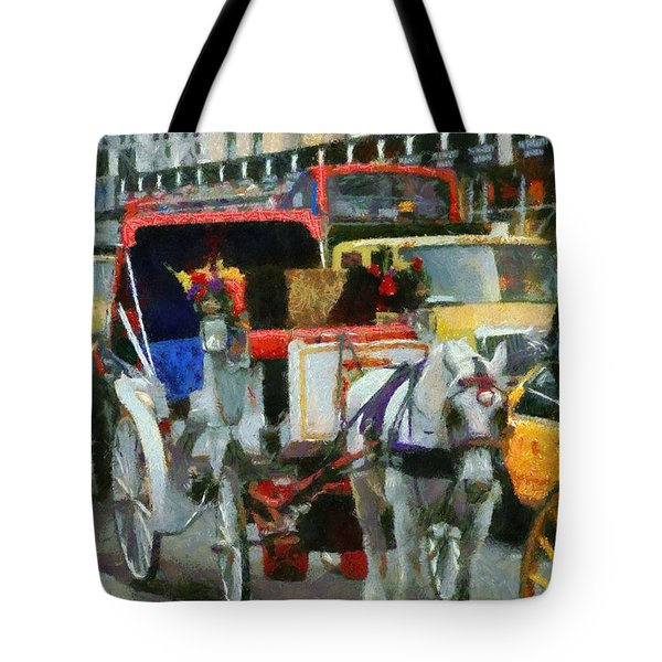 New York Taxi Street City Canvas Wall Art Picture Print Va: Horse And Carriage In New York City Painting By Dan Sproul