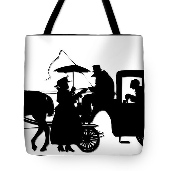Horse And Carriage Silhouette Tote Bag