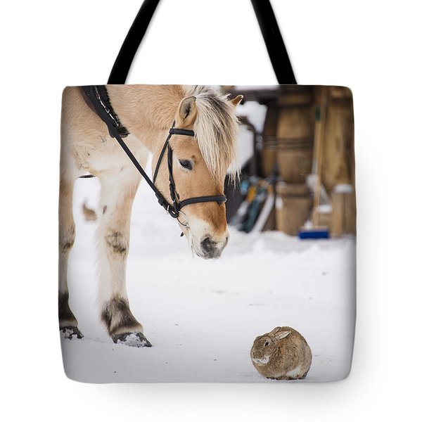 Horse And Rabbit Tote Bag