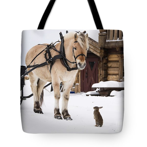 Horse And Rabbits Tote Bag by Gry Thunes