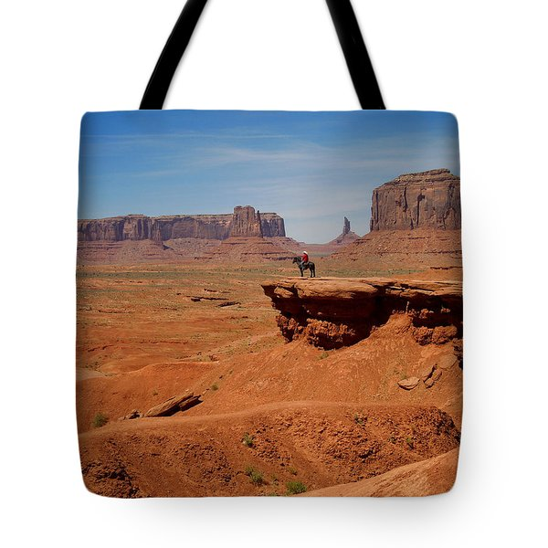 Horse And Rider In Monument Valley Tote Bag