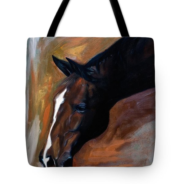 Tote Bag featuring the painting horse - Apple copper by Go Van Kampen