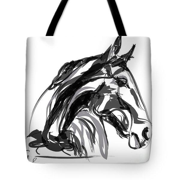 Horse- Apple -digi - Black And White Tote Bag