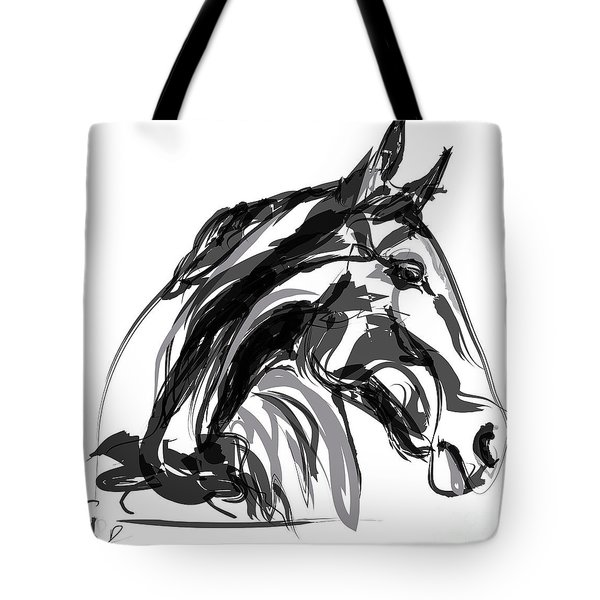 Horse- Apple -digi - Black And White Tote Bag