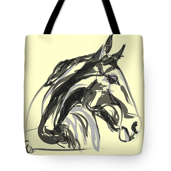 Tote Bag featuring the painting horse - Apple digital by Go Van Kampen
