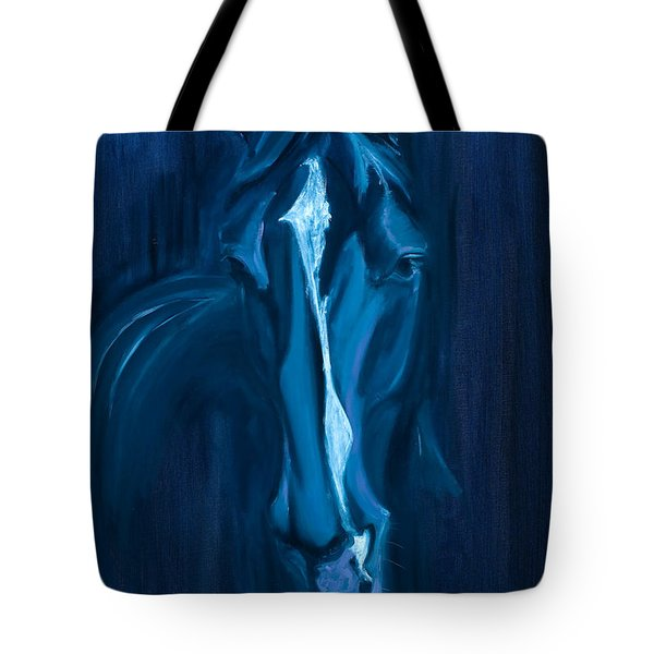 Tote Bag featuring the painting horse - Apple indigo by Go Van Kampen