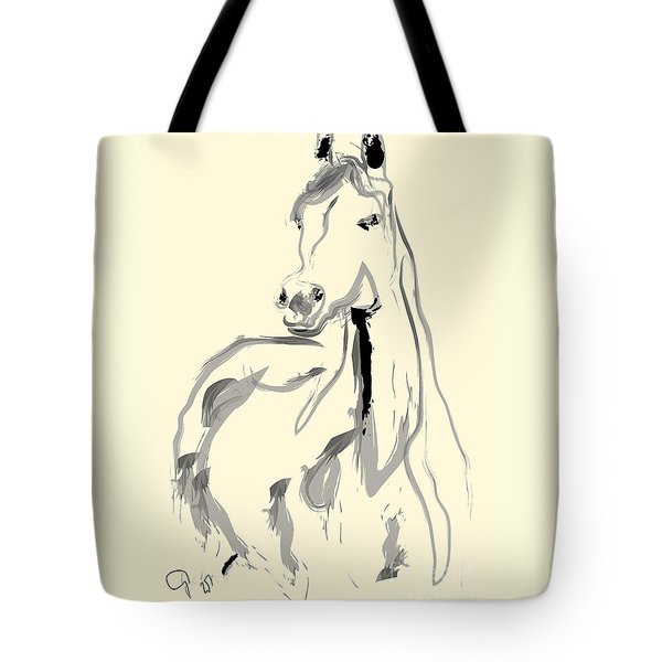 Tote Bag featuring the painting Horse - Arab by Go Van Kampen