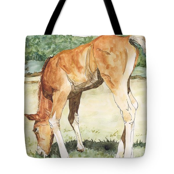 Horse Art Long-legged Colt Painting Equine Watercolor Ink Foal Rural Field Artist K. Joann Russell  Tote Bag