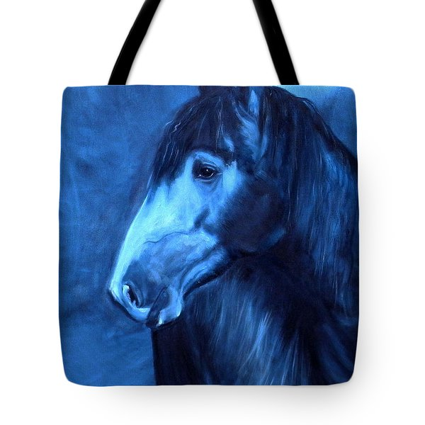 Tote Bag featuring the painting Horse - Carol In Indigo by Go Van Kampen