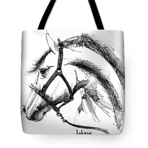 Horse Face Ink Sketch Drawing Tote Bag by Daliana Pacuraru